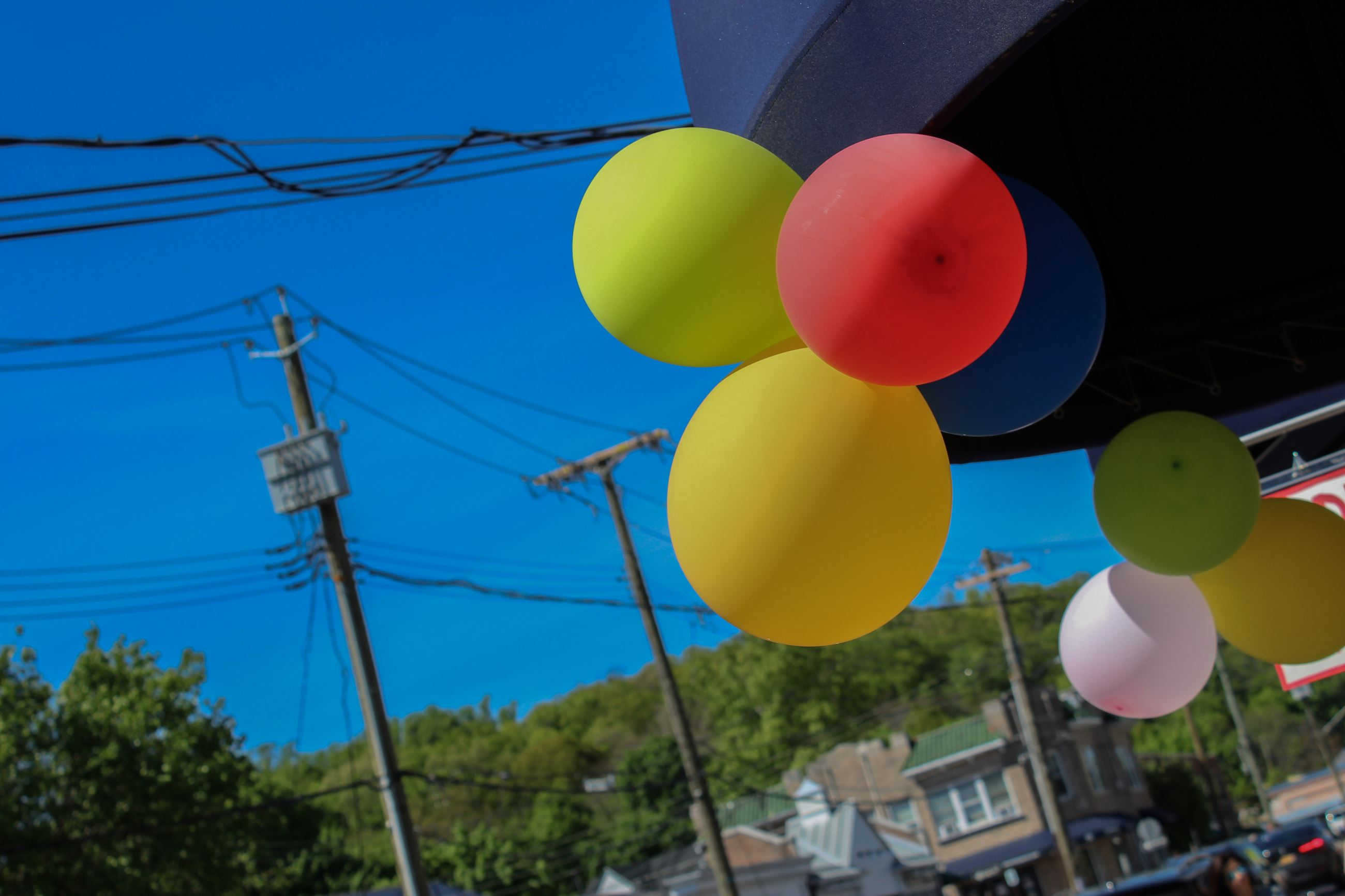 Balloons on storefront with blue sky