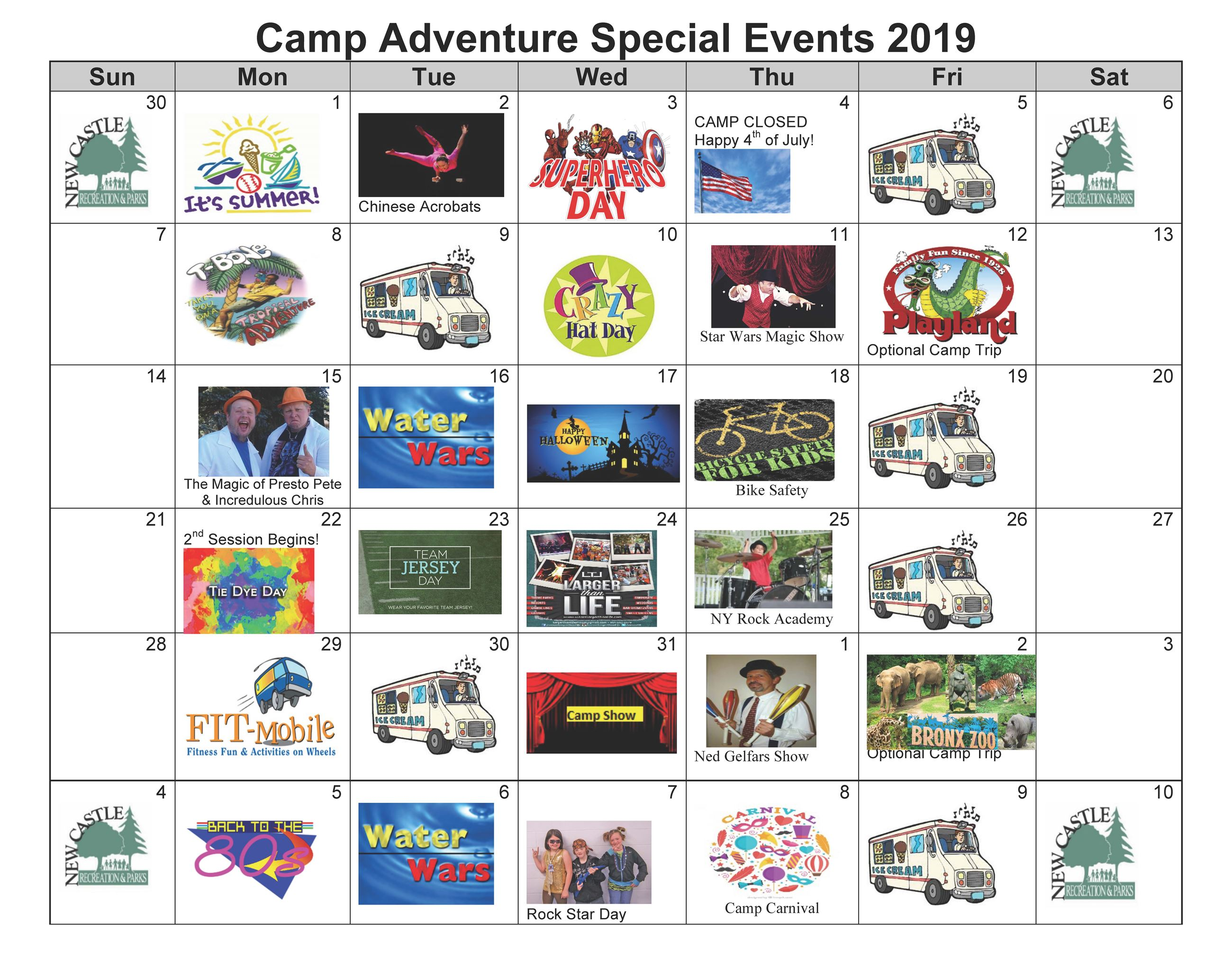 Camp Adventure Special Events 2019 Sample